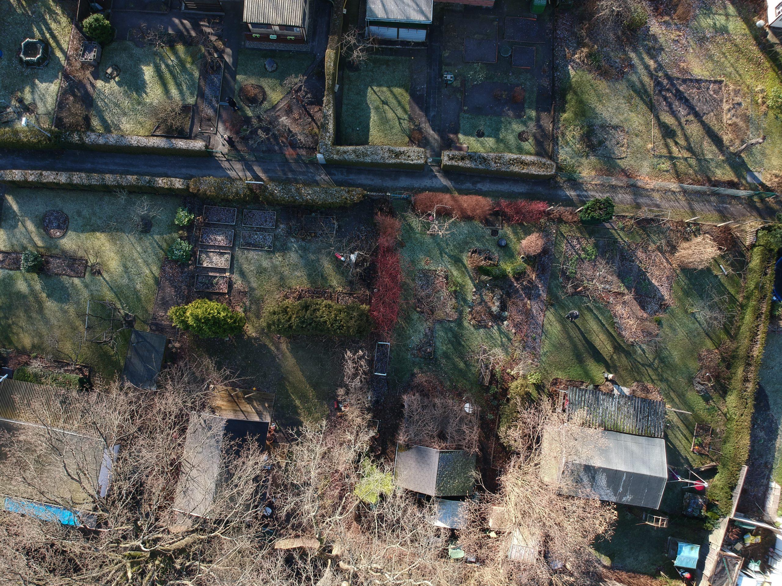 Drohne über dem Garten